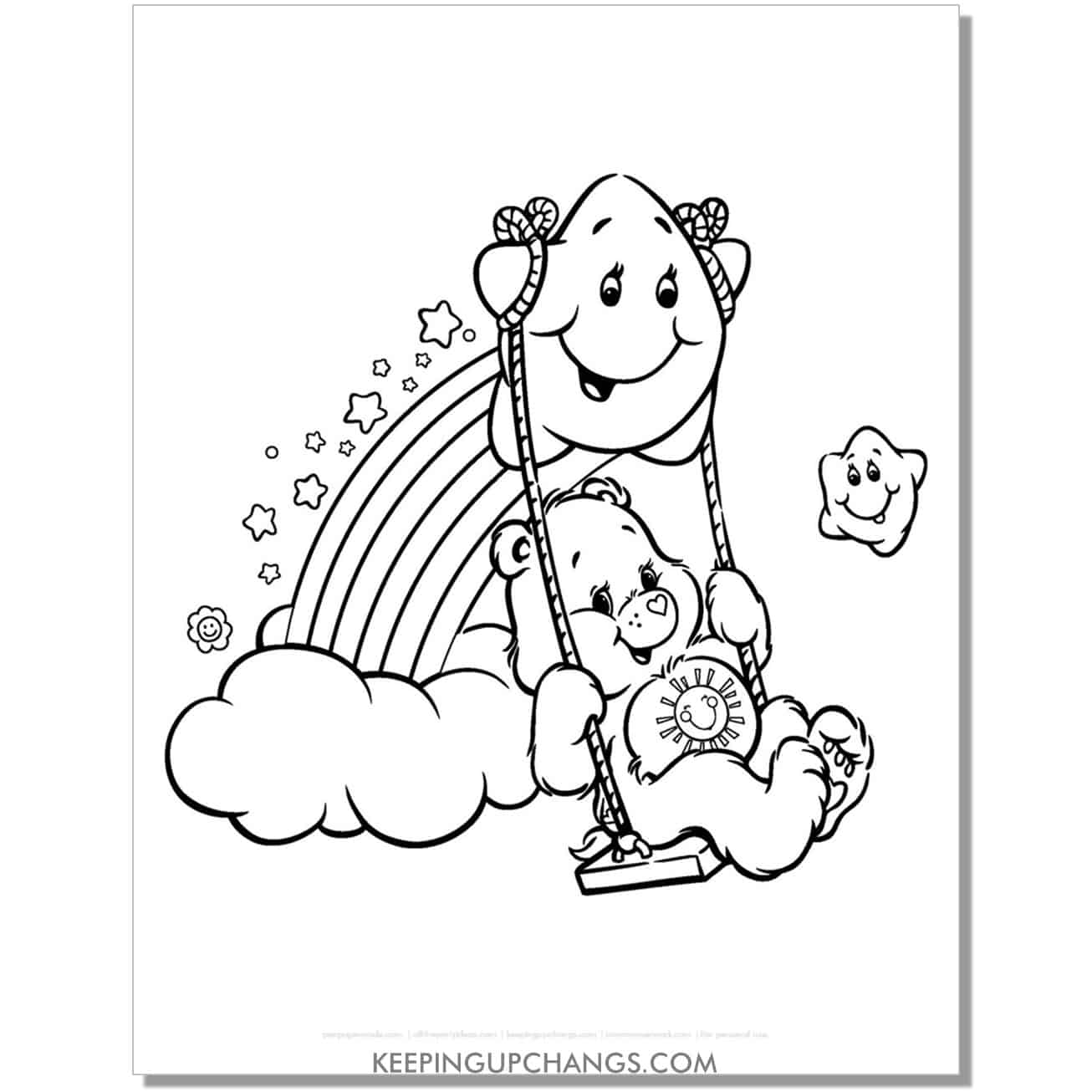 funshine care bear on rainbow swing coloring page.