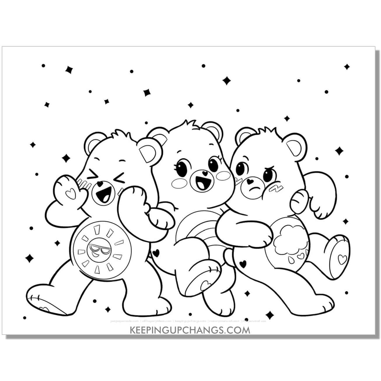 funshine, take care, and gloomylucky care bear coloring page.