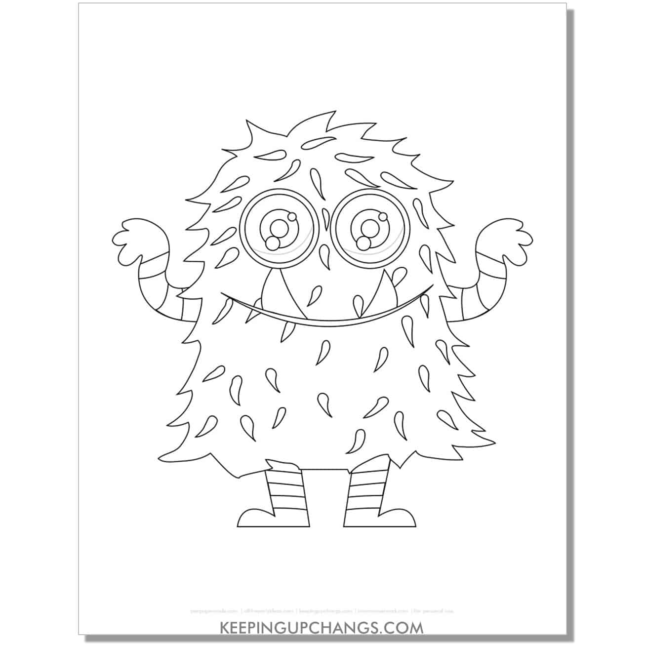 free large, furry monster coloring page.