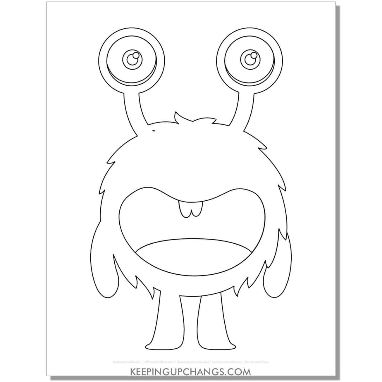 free fuzzy 2 legs monster coloring page.