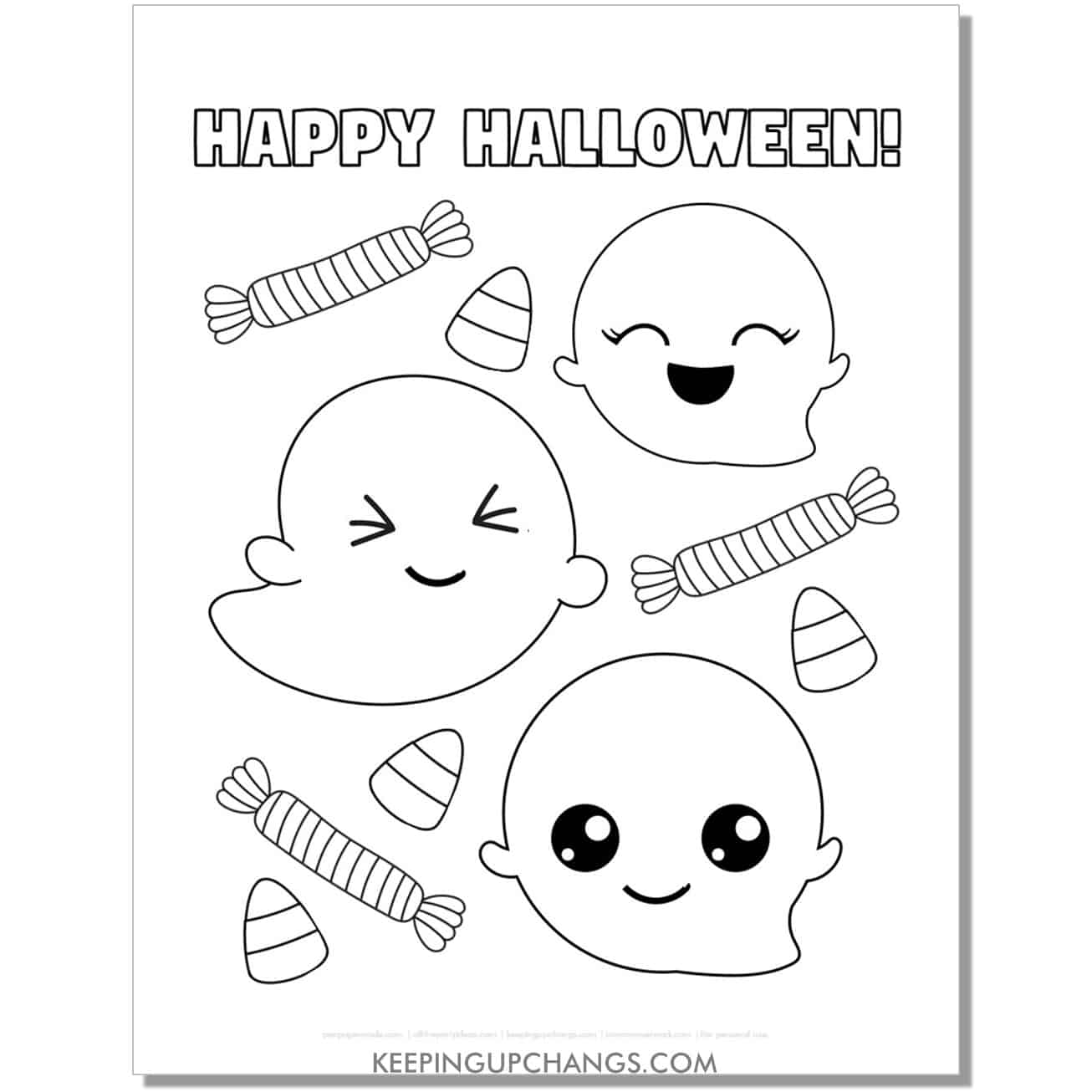 free happy halloween cute ghost coloring page.