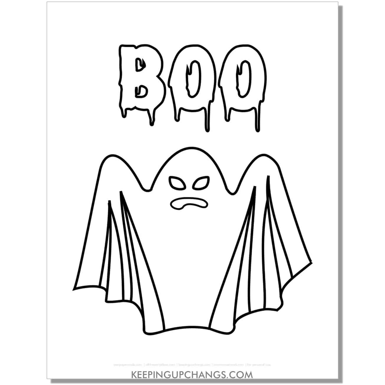 free boo ghost coloring page.