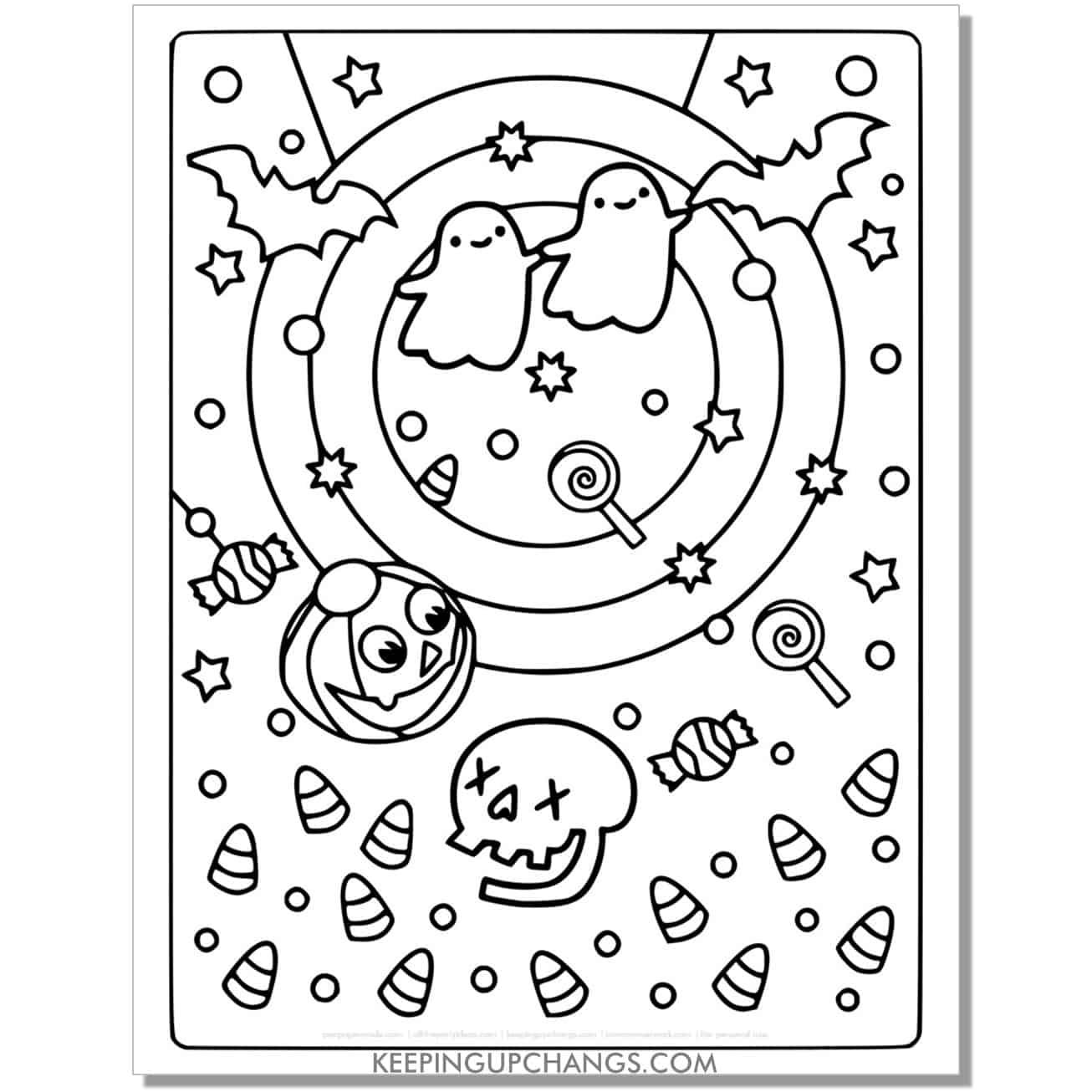 free jack o lantern, skull, bat, ghost coloring page.