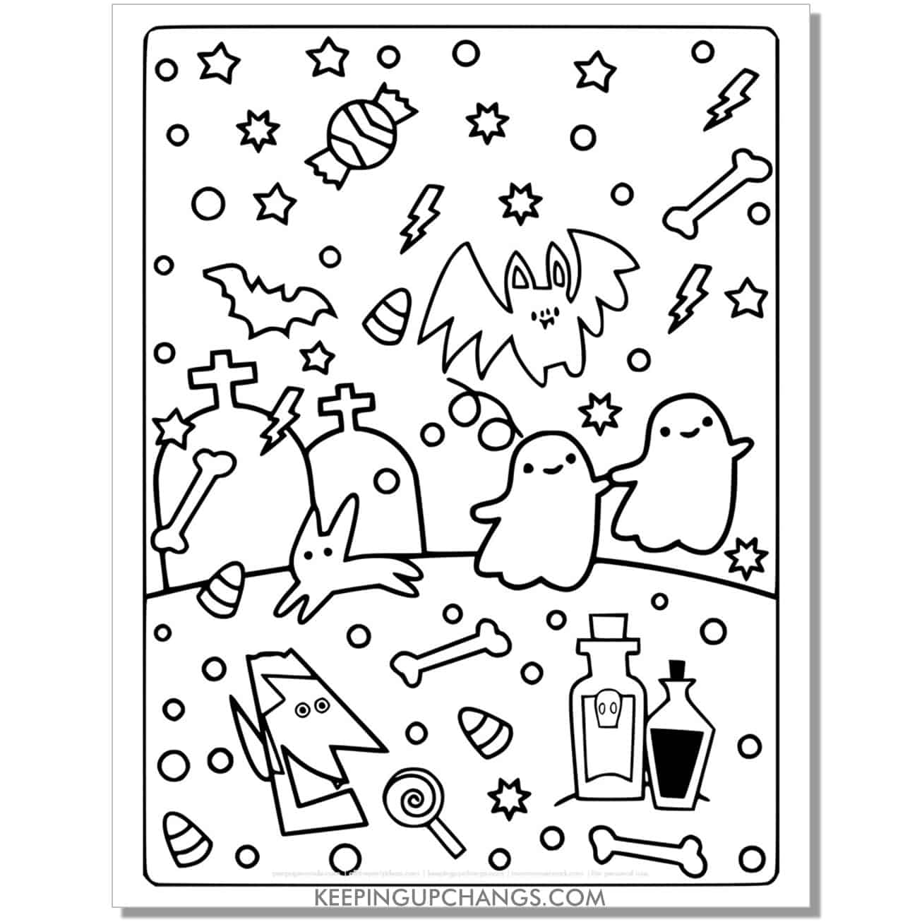 free vampire head, bat, ghost coloring page.