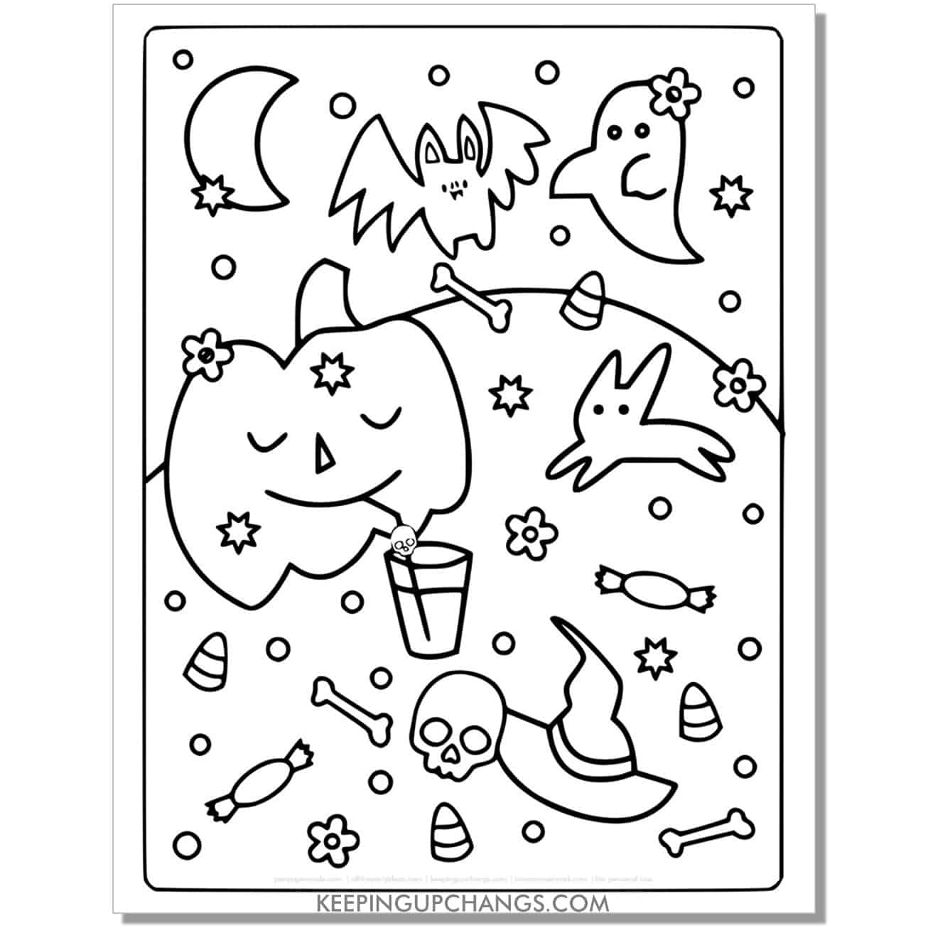 free bat, pumpkin, ghost full size coloring page.