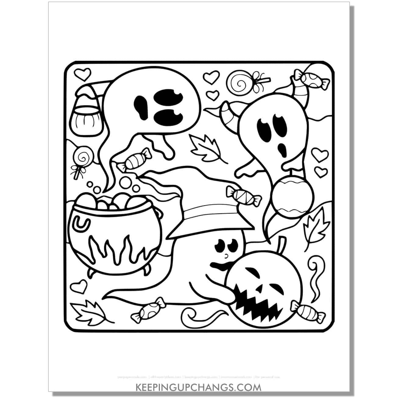 free ghost witch and jack o lantern full size coloring page.