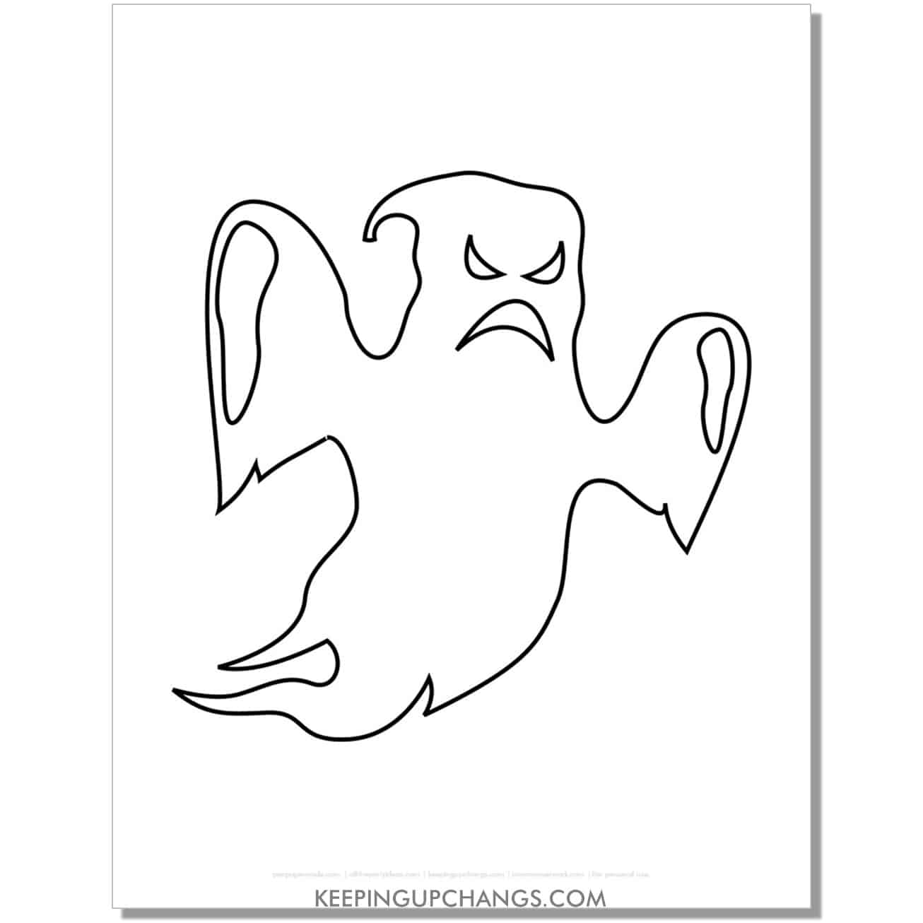 free scary flying ghost coloring page.