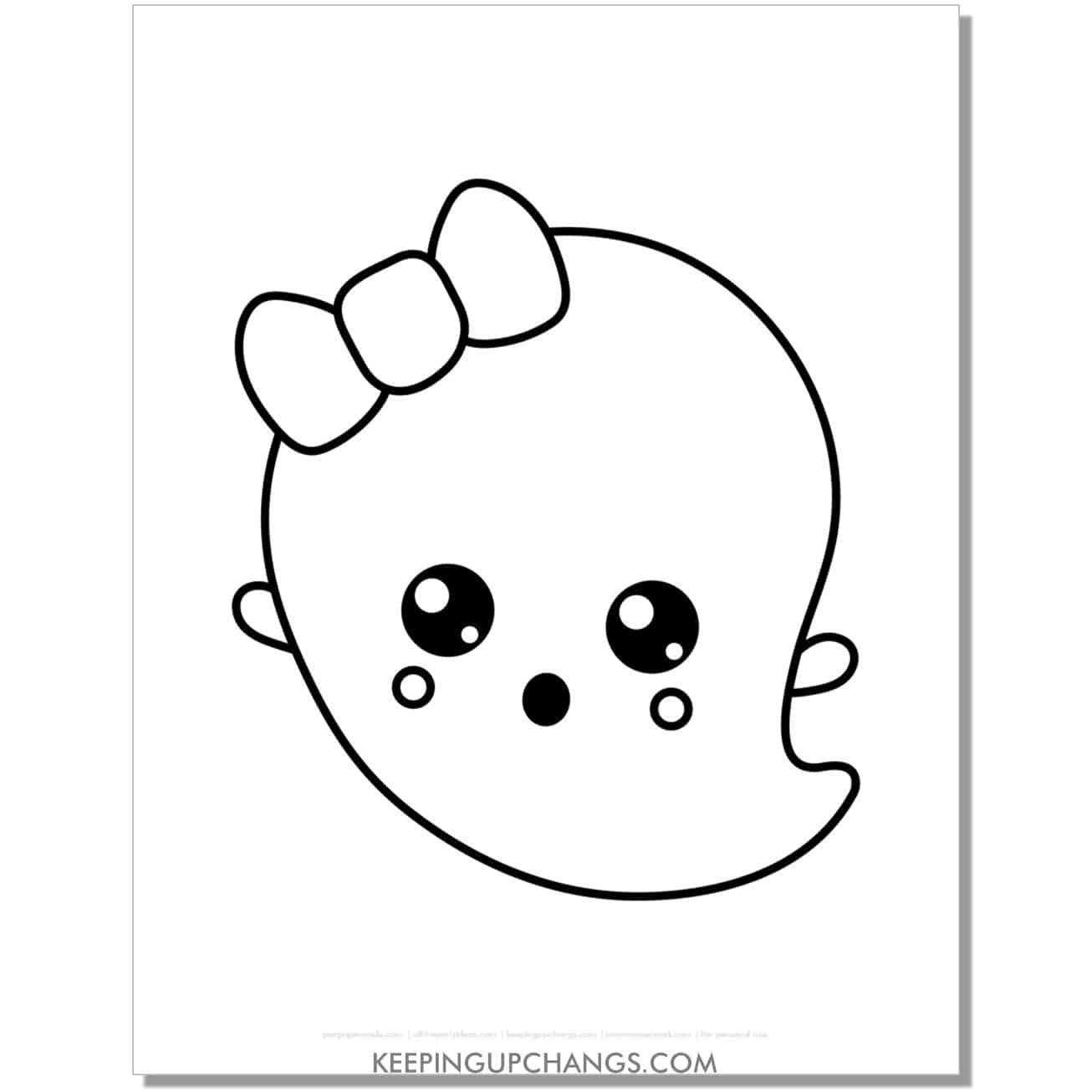 free kawaii girl ghost with bow coloring page.