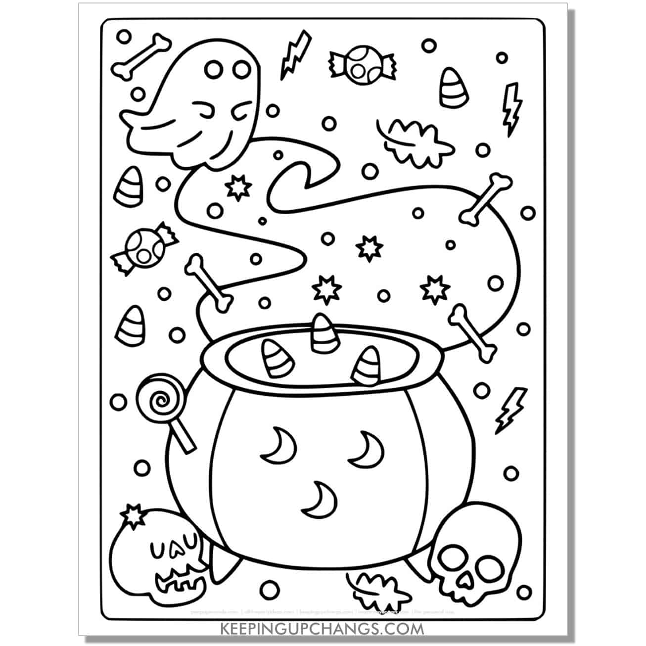 free ghost cauldron full size coloring page.