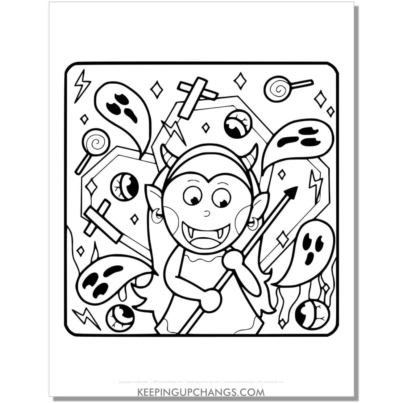 free girl devil costume and ghost coloring page.