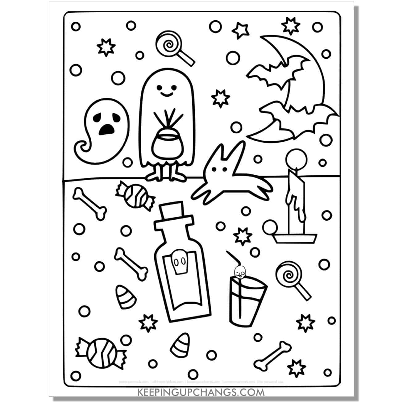 free ghost, poison, bat full size coloring page.