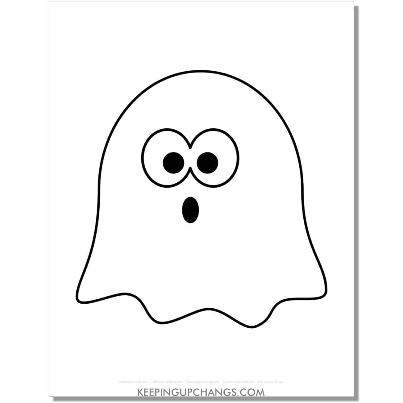 free ghost outline coloring page for kids.