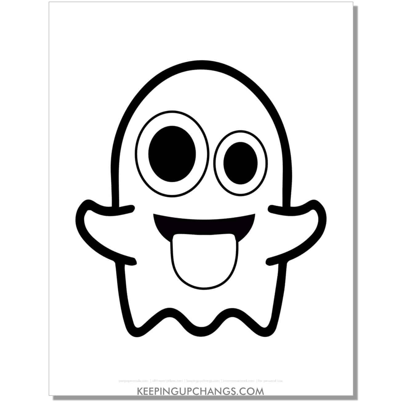 free ghost emoji coloring page.