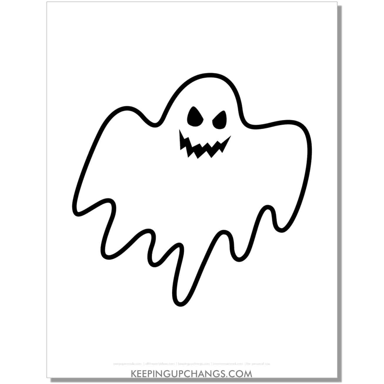 free scary smiling ghost coloring page.