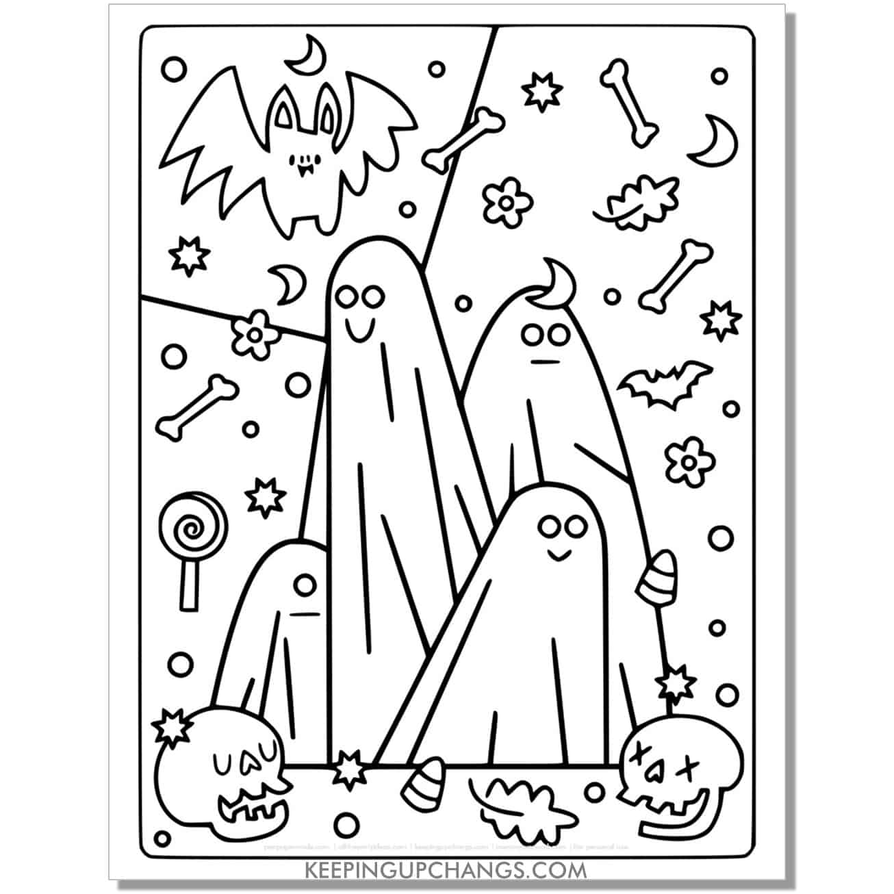 free ghost family halloween costume coloring page.