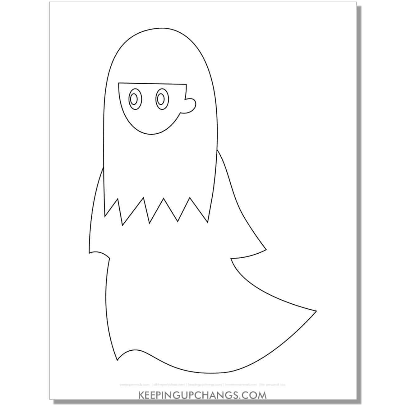 creepy girl ghost with black hair coloring page.