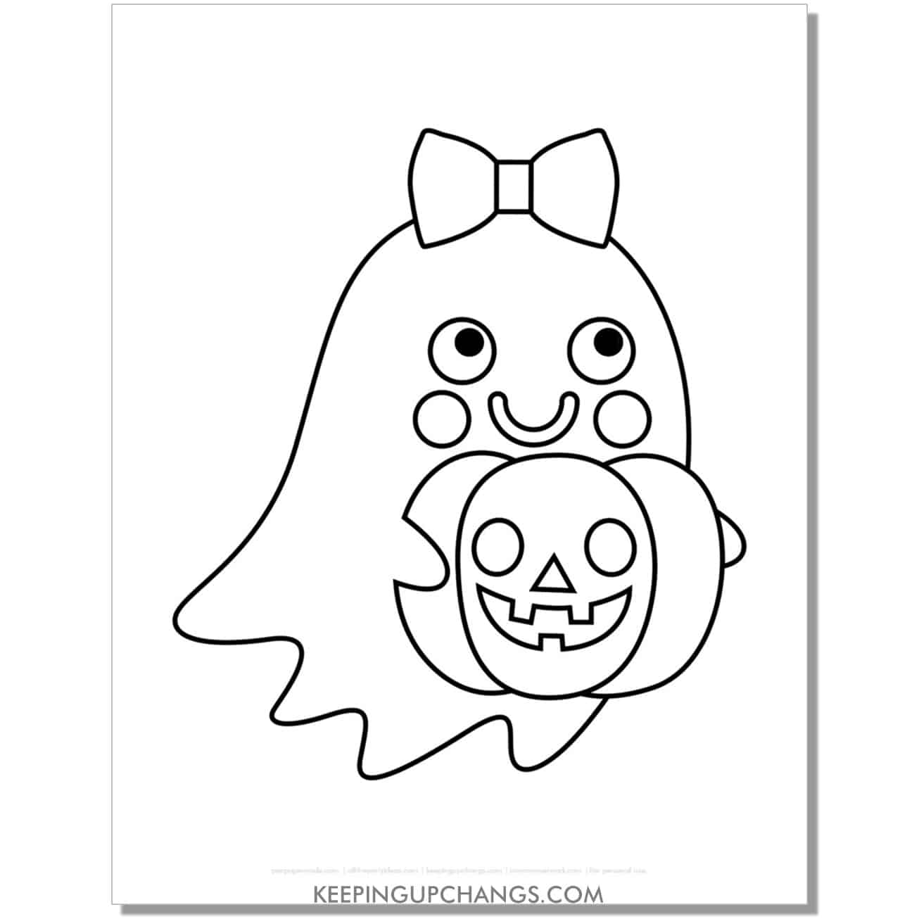 free girl ghost with jack o lantern coloring page.