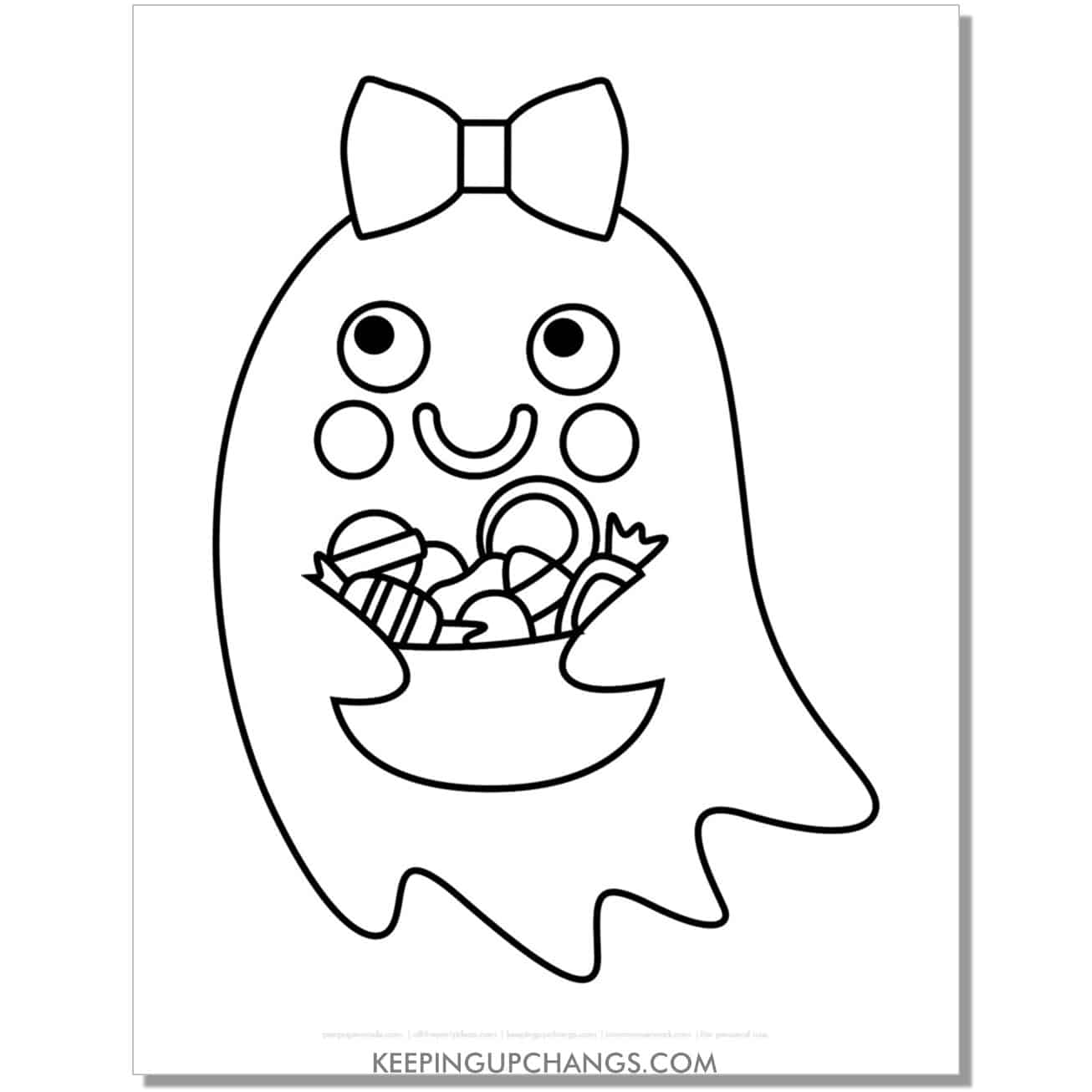 free girl ghost with candy treats coloring page.