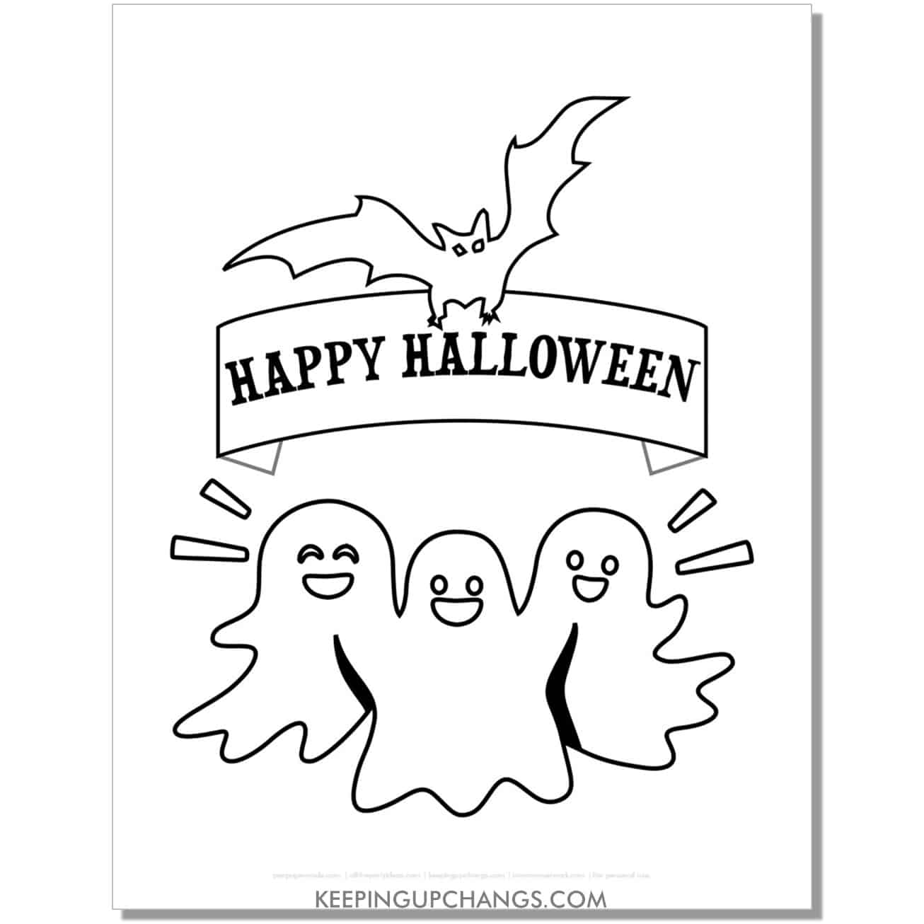 free happy halloween friendly ghost coloring page.