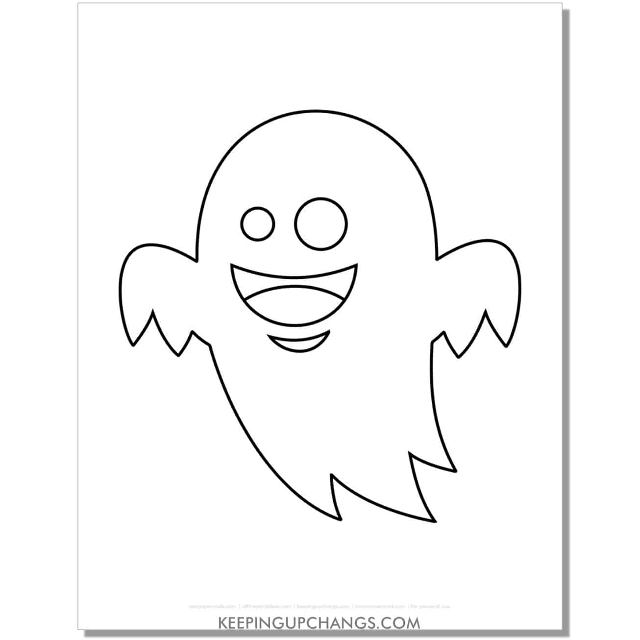 free happy ghost template coloring page.