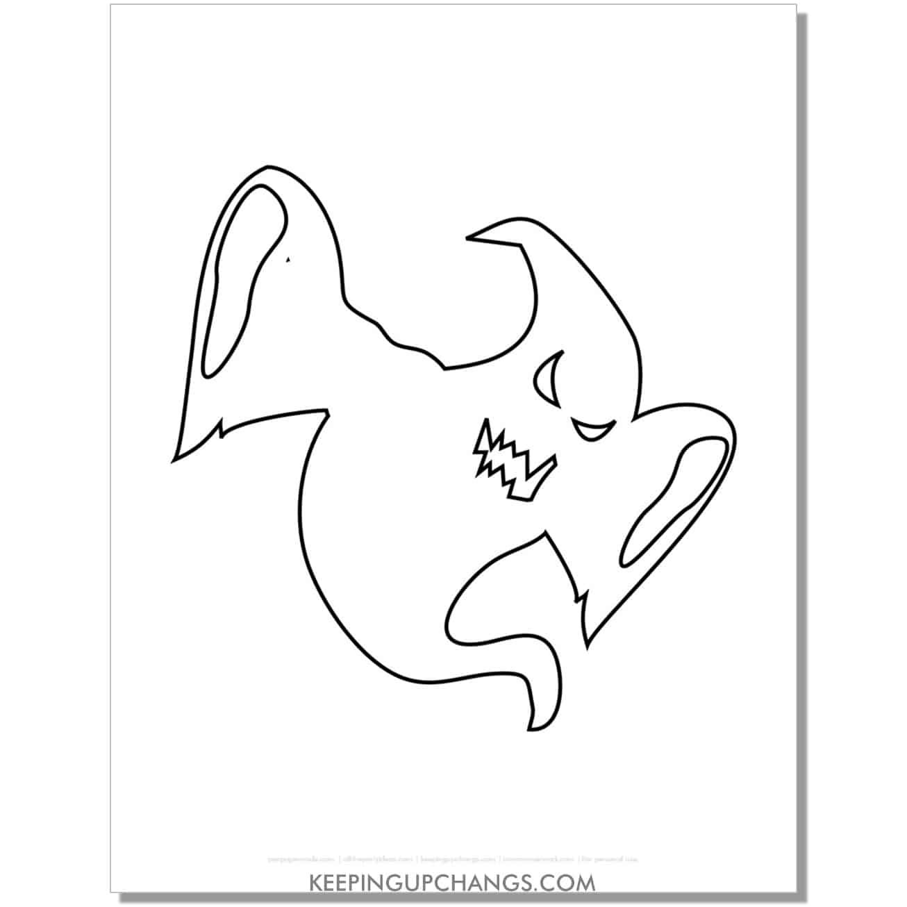 free scary ghost bending down coloring page.