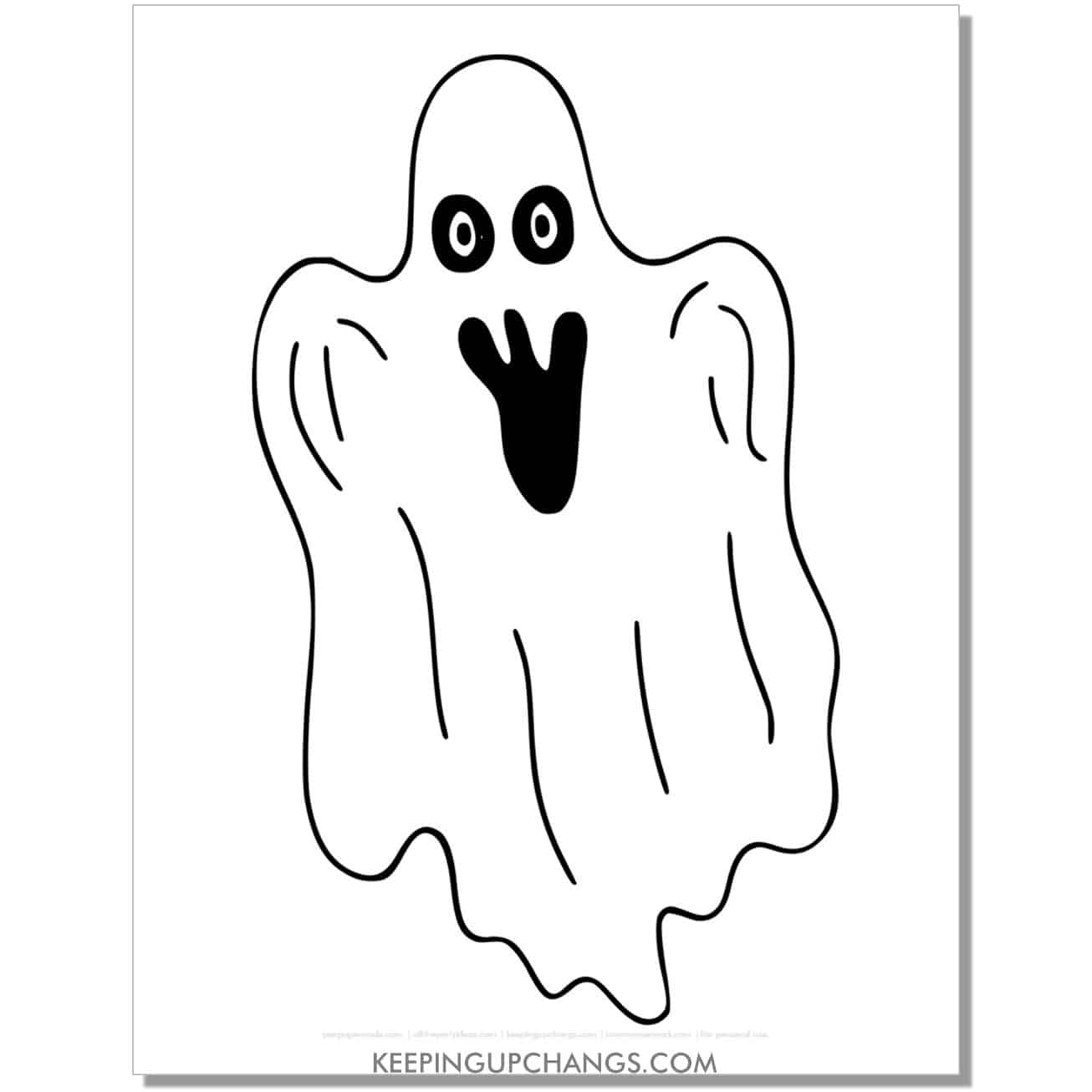 free creepy ghost coloring page.