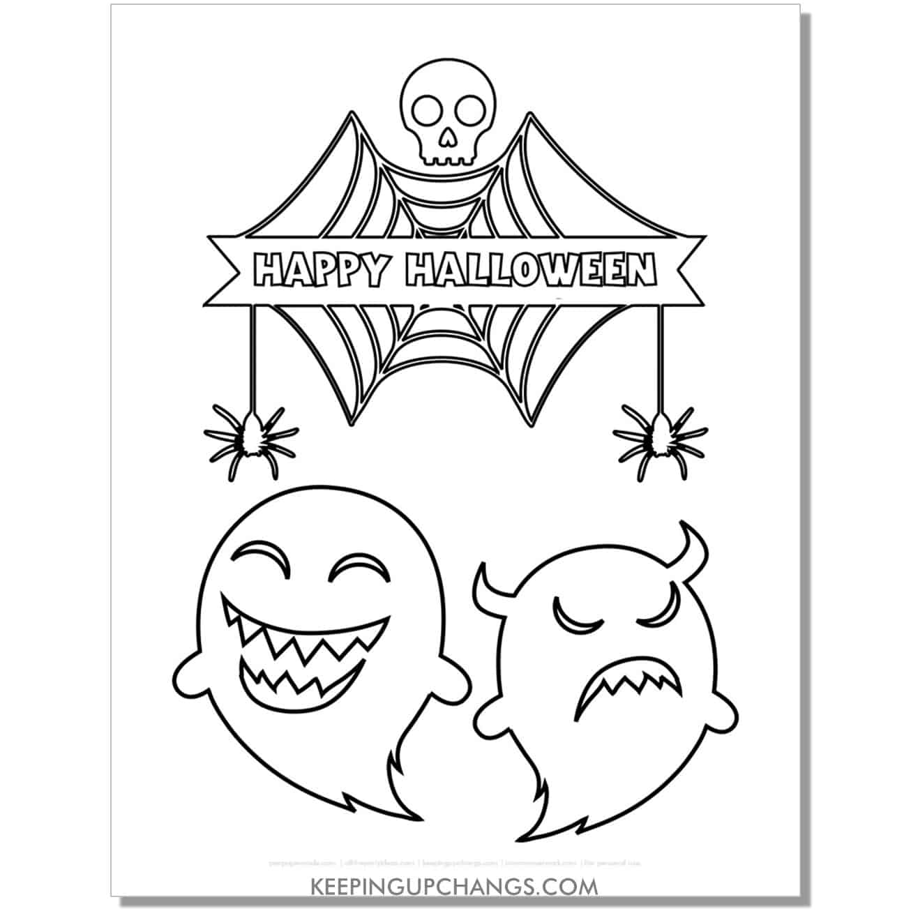 free happy halloween angry ghost spider and skull coloring page.