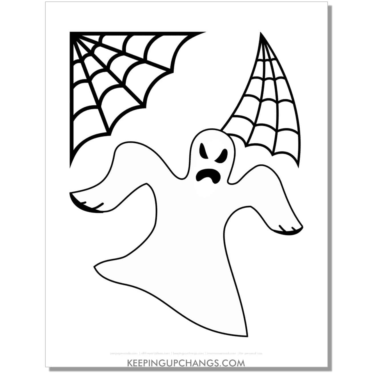 free simple scary ghost with cobwebs coloring page.