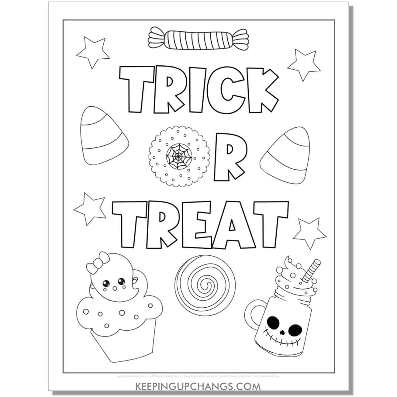 free trick or treat with ghost cupcake, candy corn, skeleton smoothie coloring page.