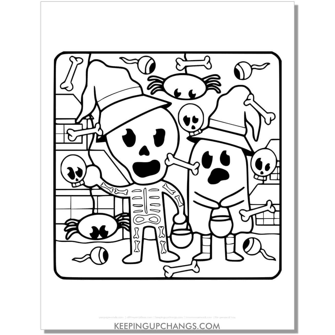 free kids in skeleton, ghost costume full size coloring page for toddlers.