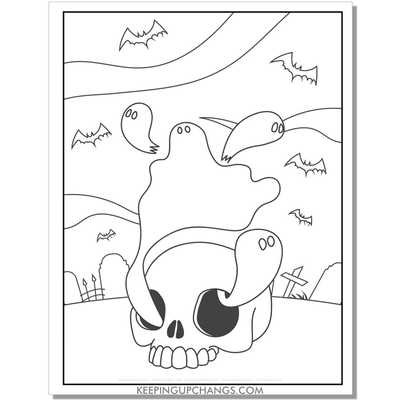 easy skull ghost, bat full size coloring page for kids.