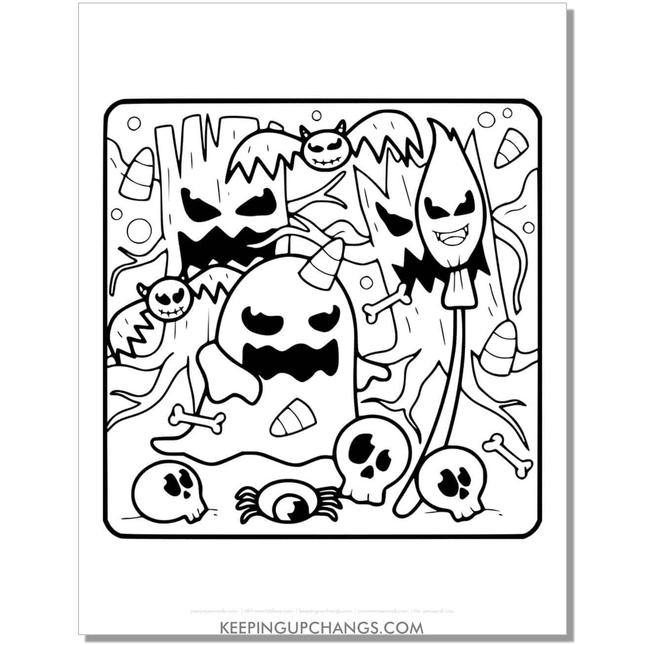 free evil ghost, skull, bat coloring page.