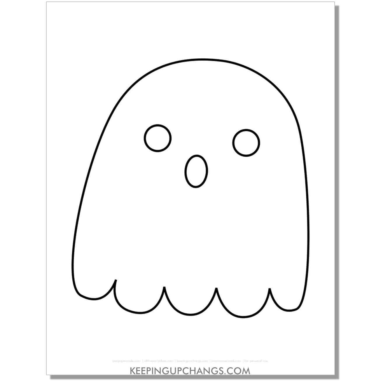 free ghost template for toddlers coloring page.