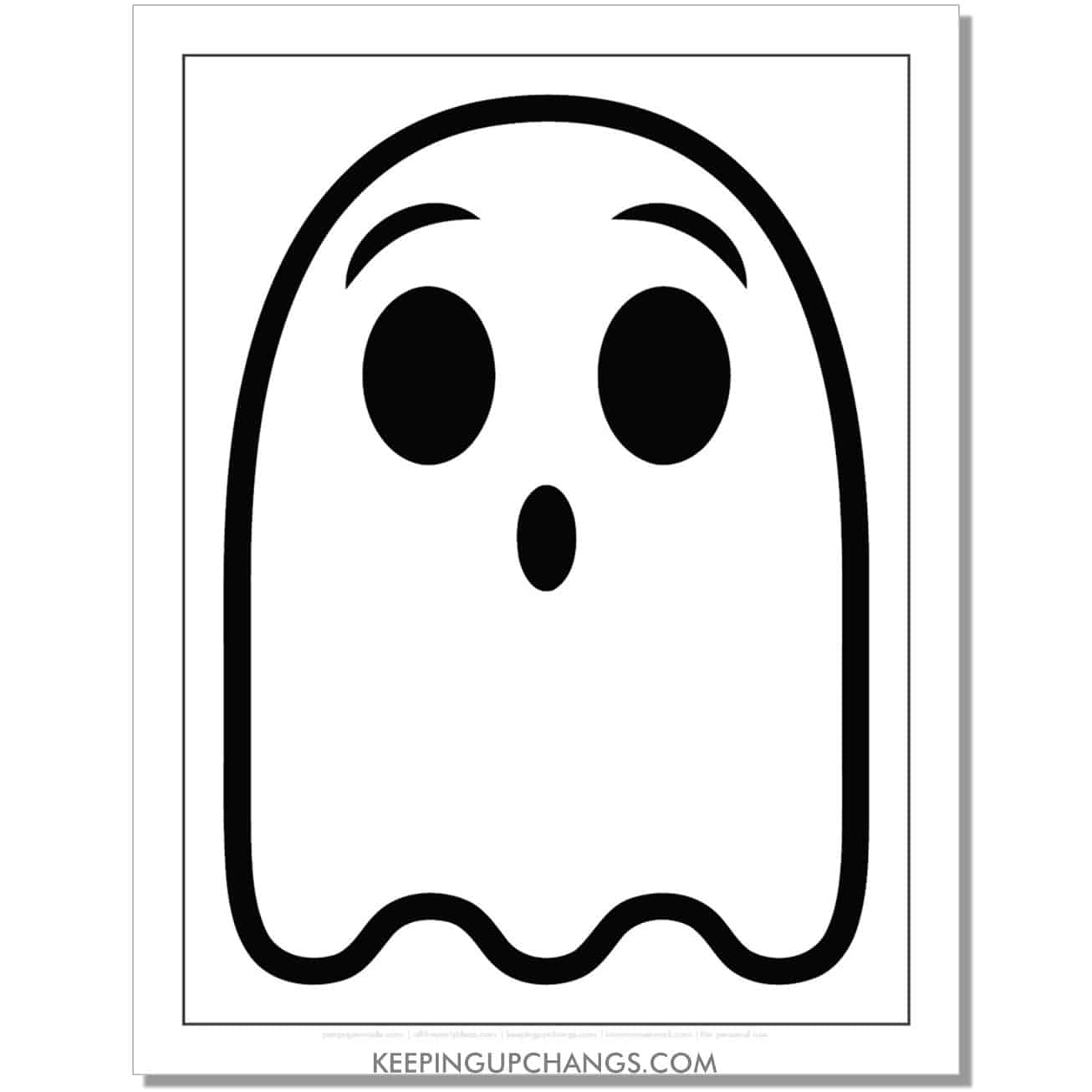 free ghost emoji halloween coloring page for kids.