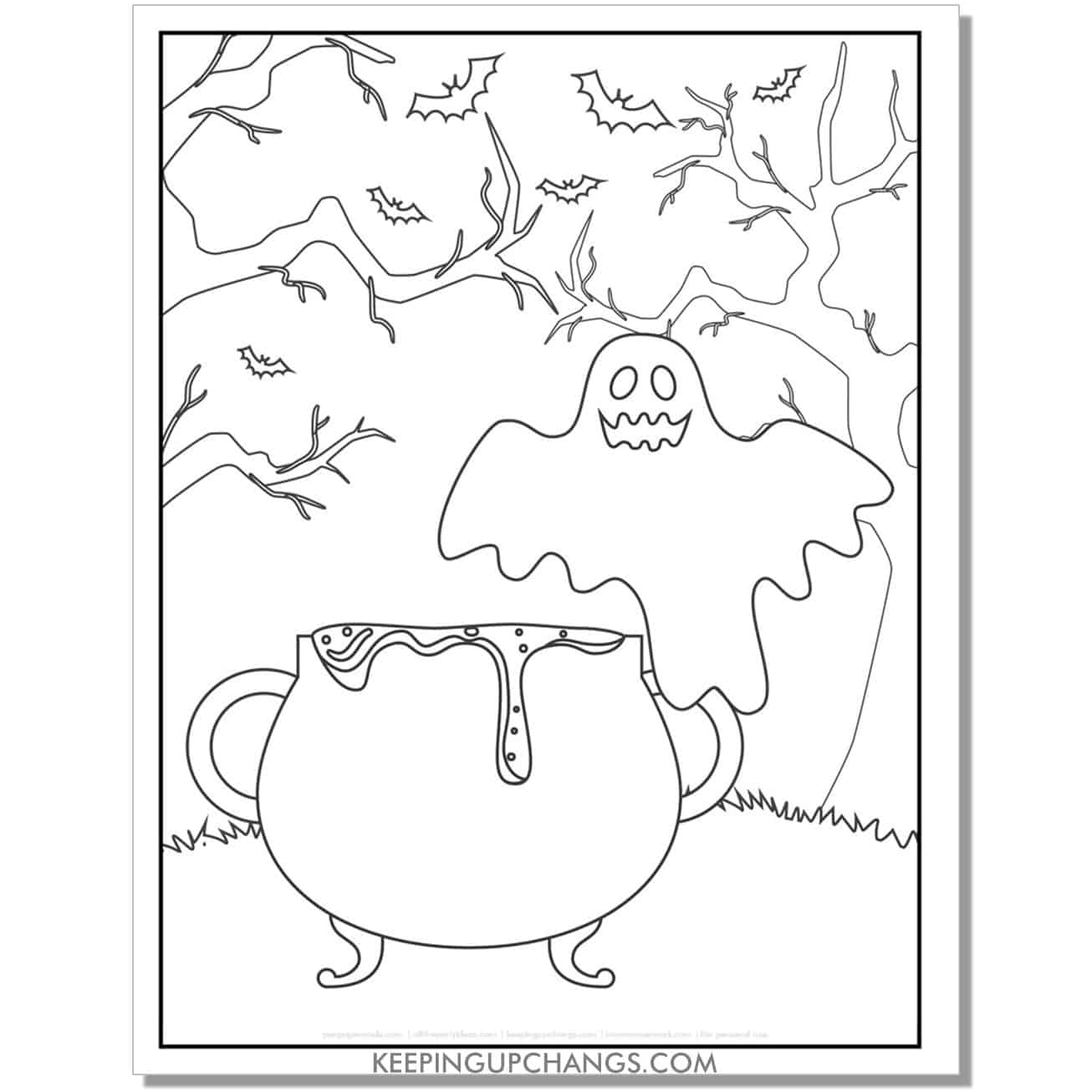 free simple ghost, cauldron, bats coloring page.
