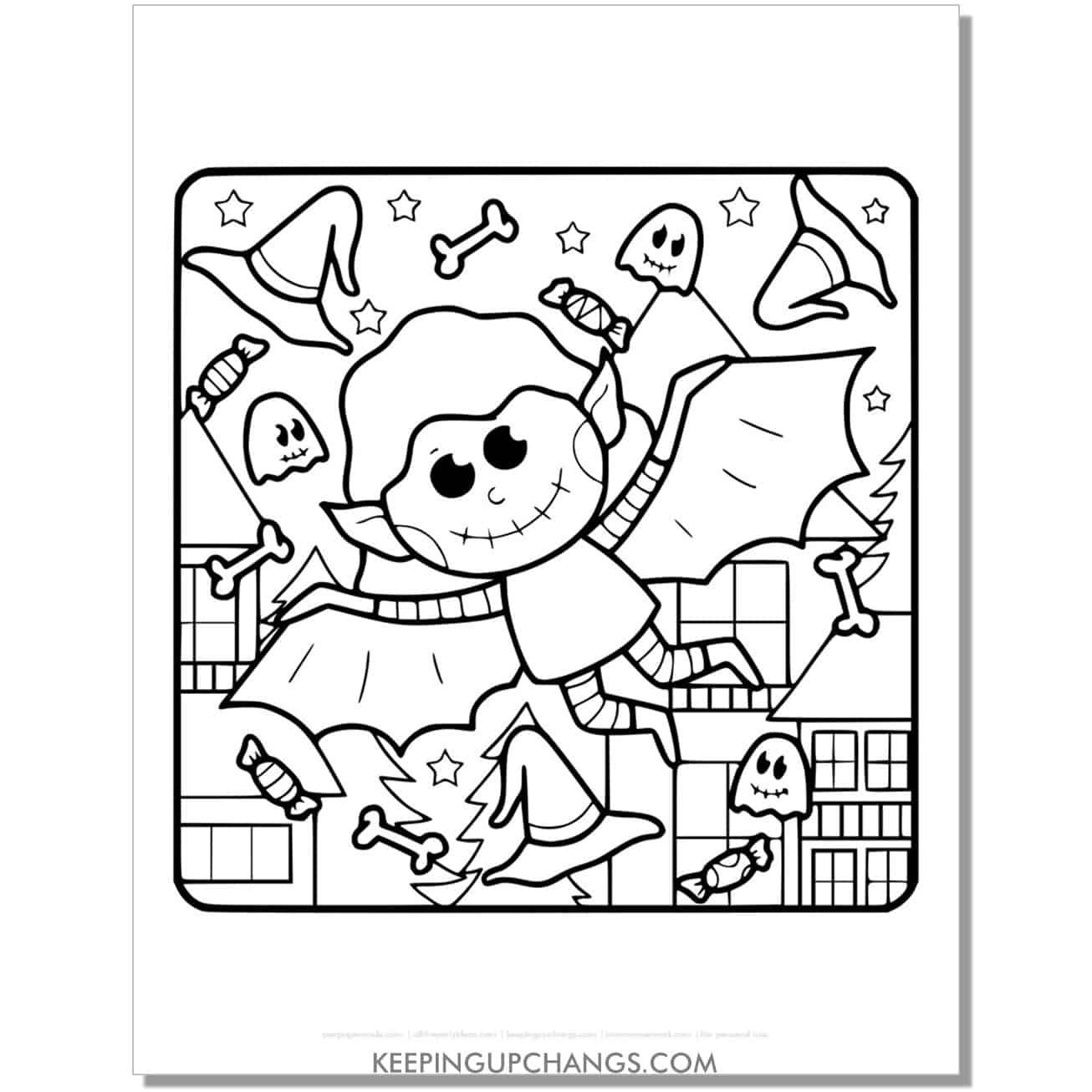 free vampire bat boy coloring page.
