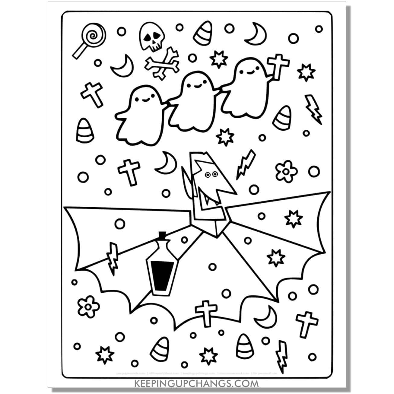 free cute vampire, ghosts full size coloring page.