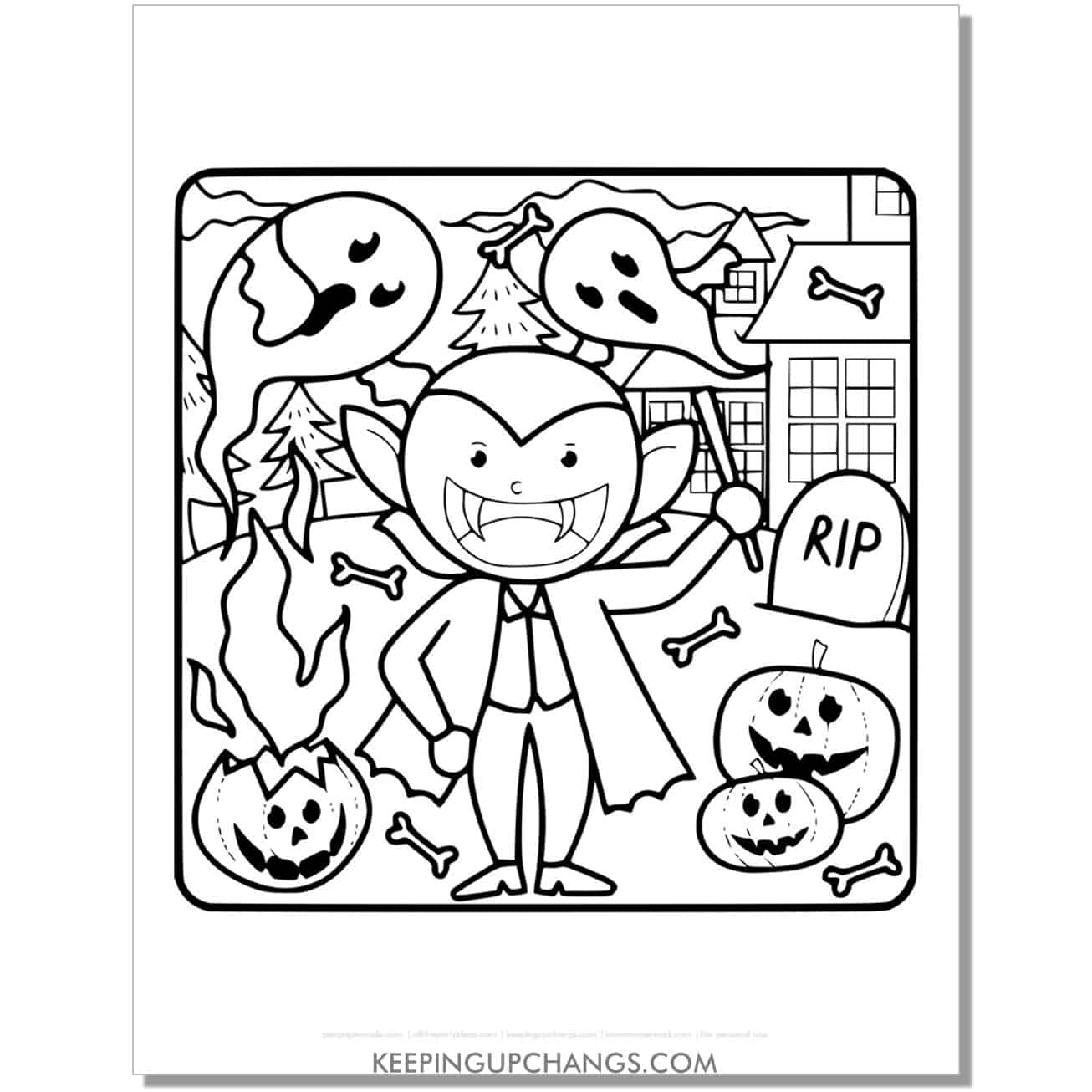 free vampire boy with ghosts, jack o lanterns coloring page.