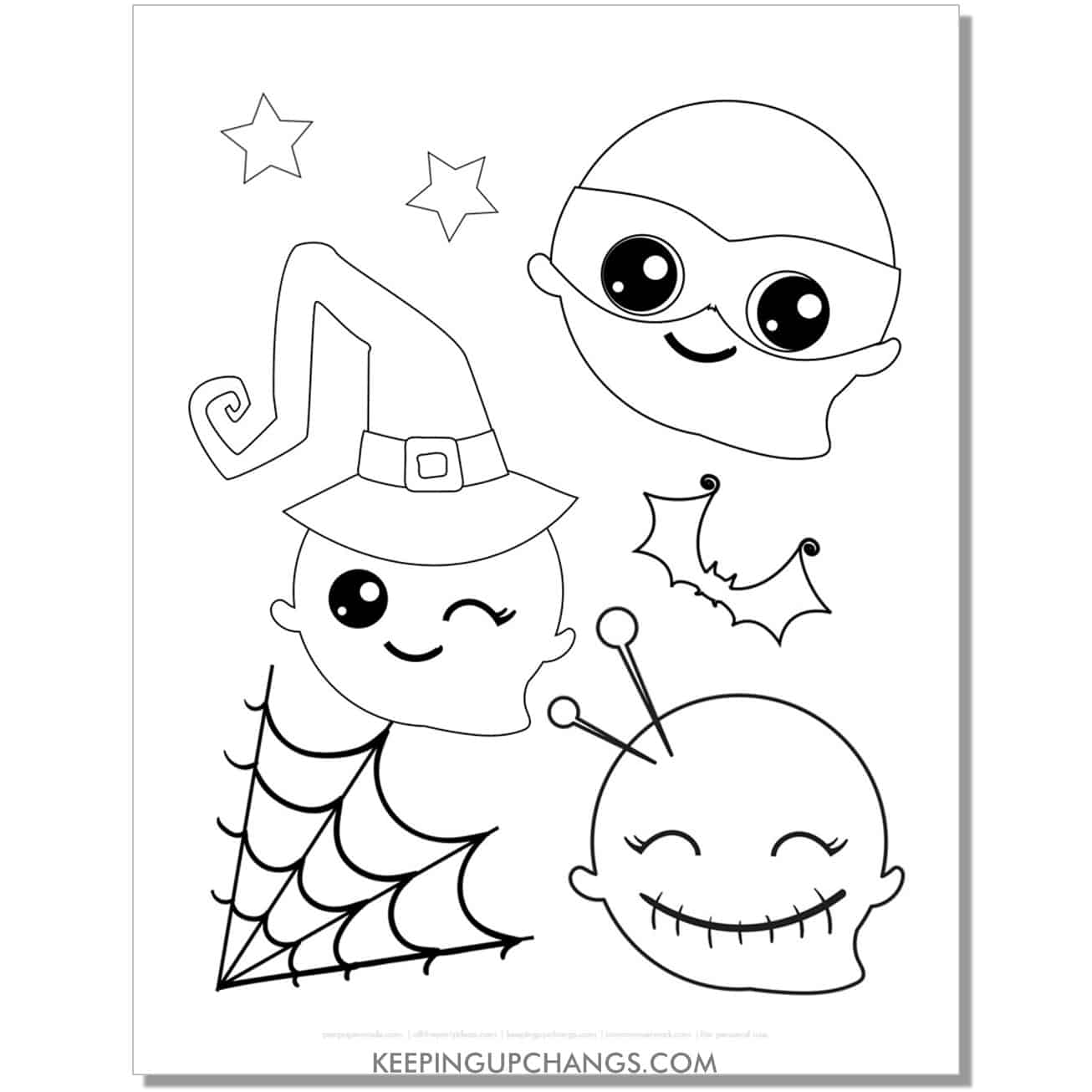 free ninja, witch, voodoo ghost coloring page.