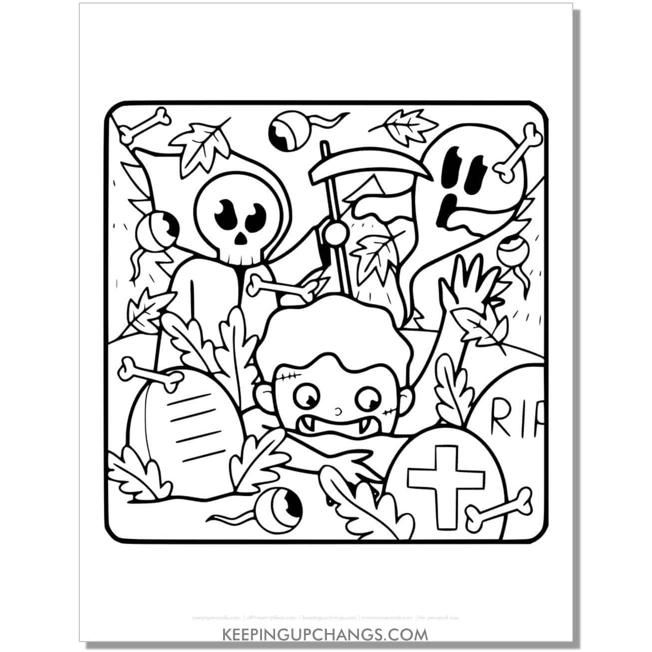 free zombie, ghost, grim reaper coloring page.