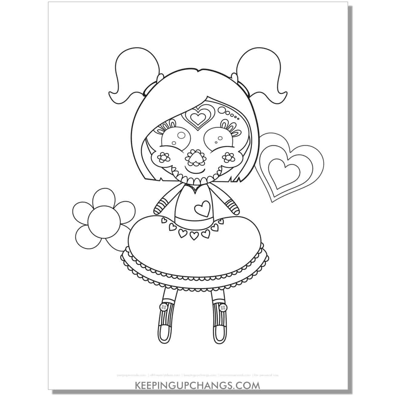 free sugar skull girl doll skeleton coloring page.