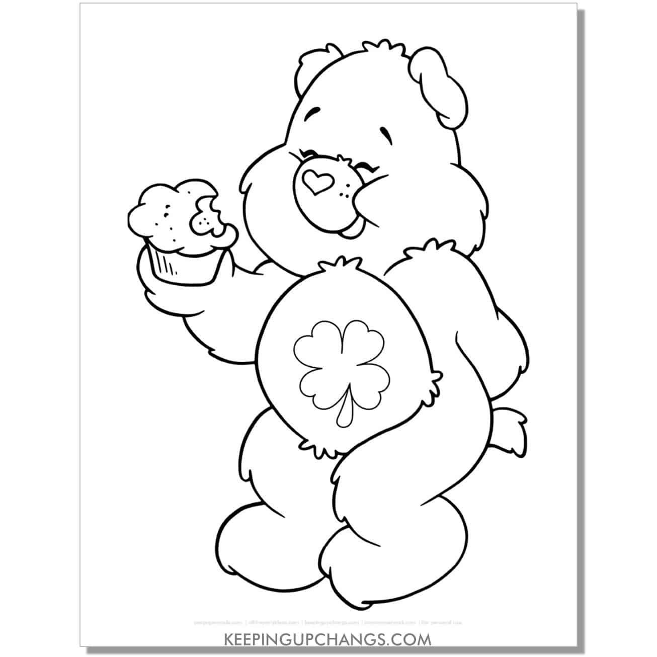 lucky care bear eating cupcake coloring page.
