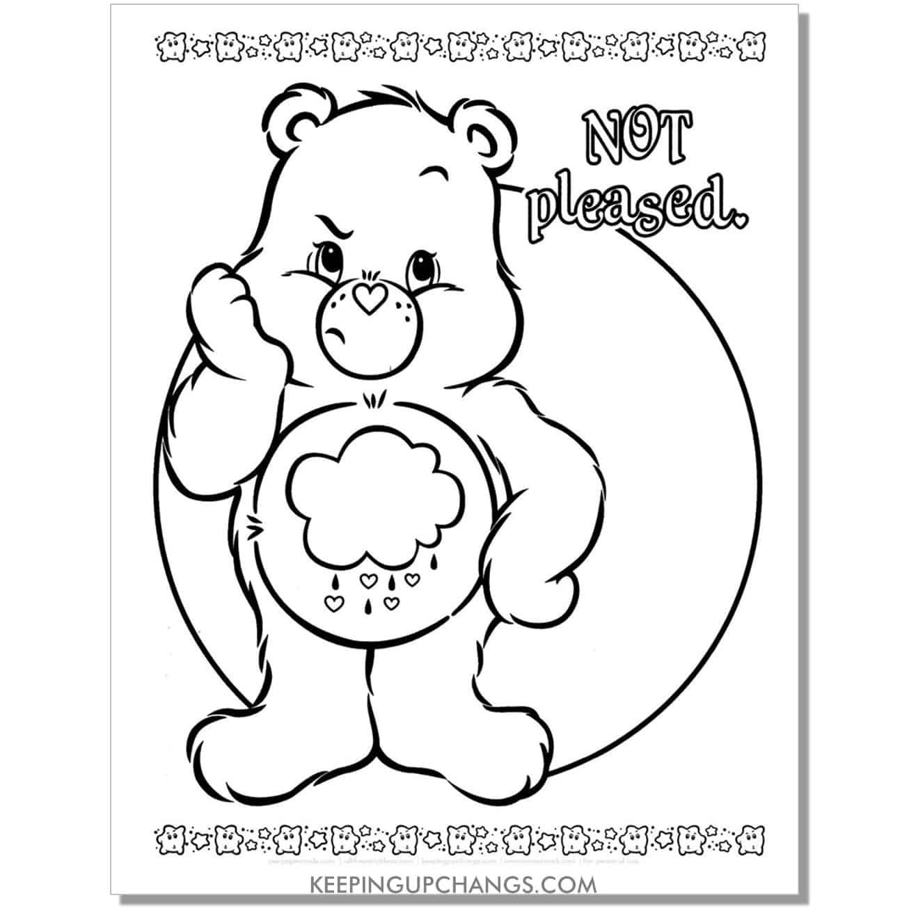 gloomy care bear coloring page not pleased.