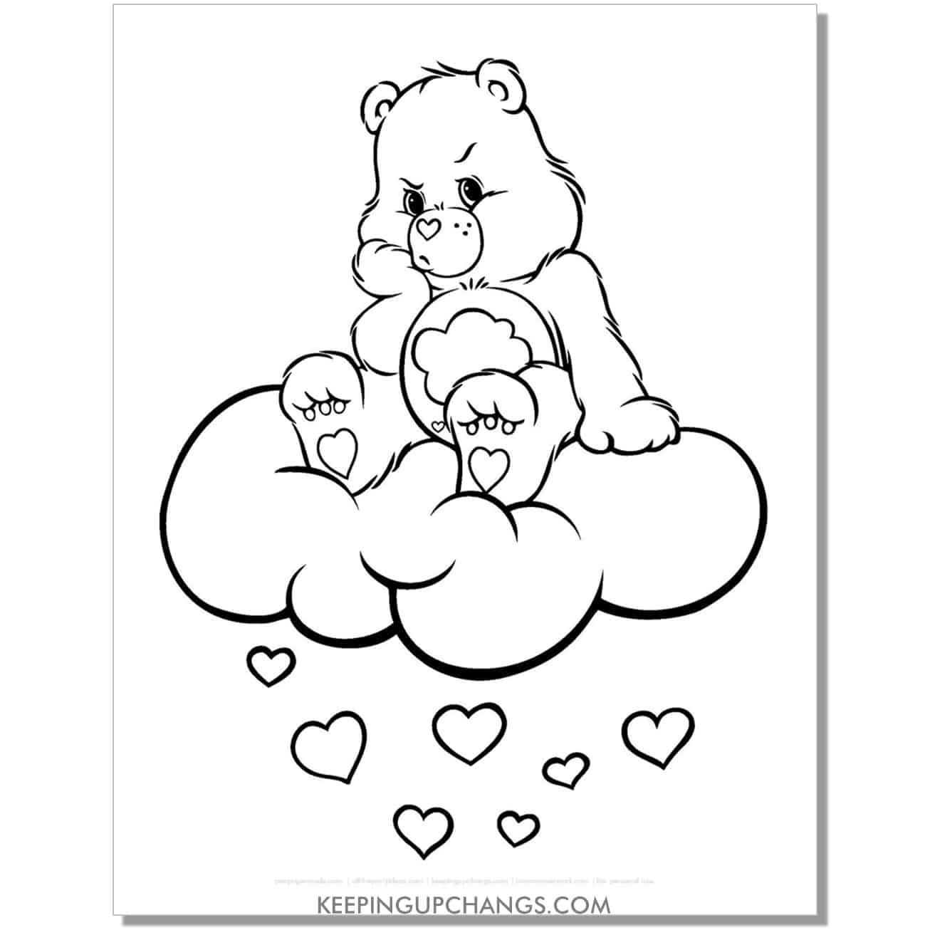 gloomy care bear coloring page sitting on cloud.