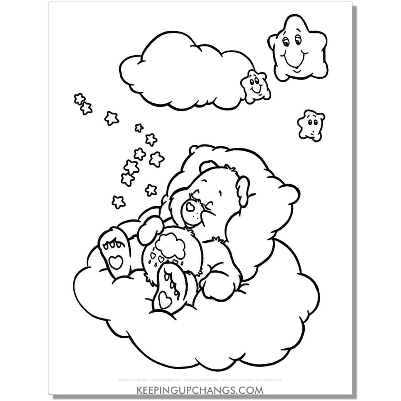 gloomy care bear coloring page drifting off to sleep.
