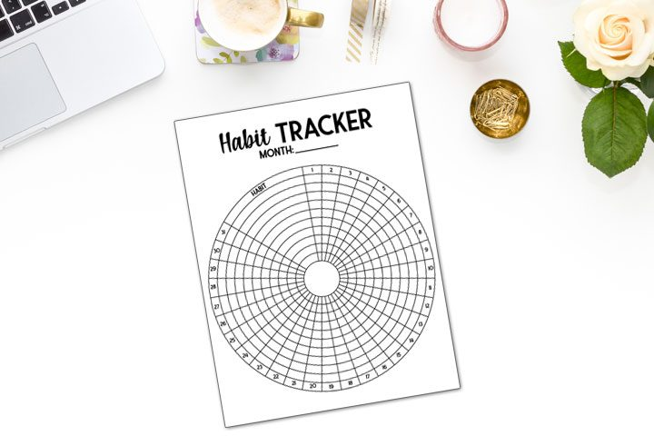 circle habit tracker close up with room to track 10 habits a month