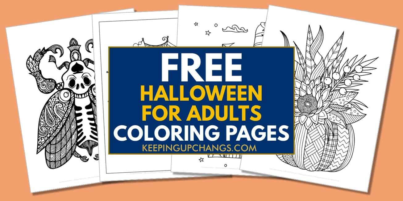 spread of free adult halloween coloring pages.