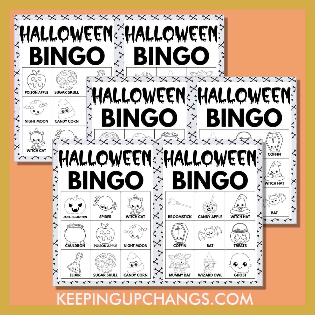 free fall halloween bingo 3x3 black white coloring game cards.