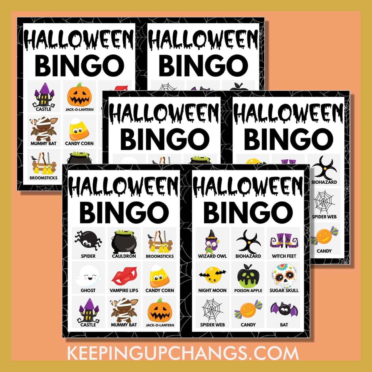 free fall halloween bingo 3x3 game cards.