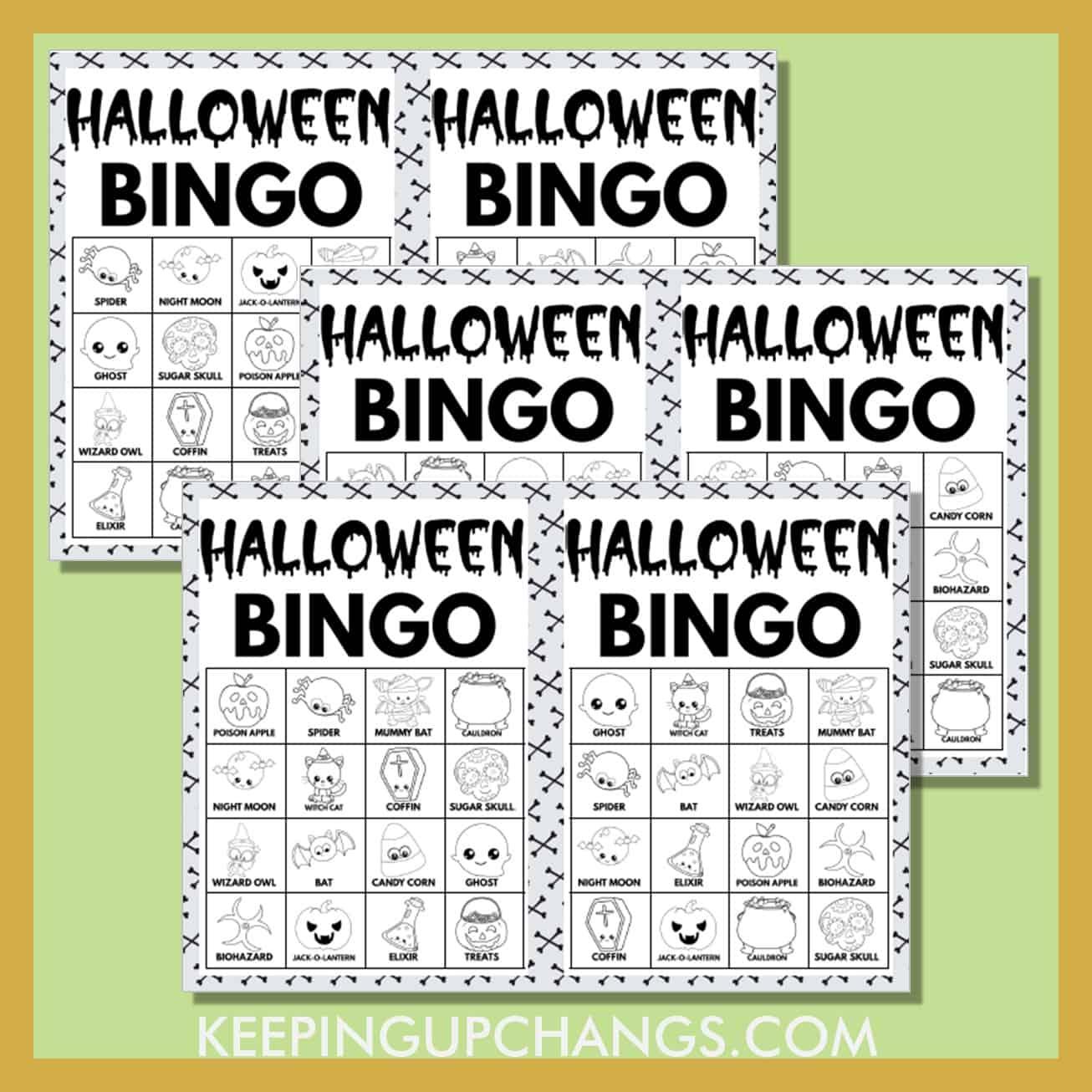 free fall halloween bingo 4x4 black white coloring game cards.